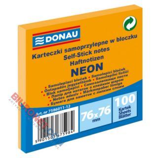 Karteczki samoprzylepne Donau 76x76 mm, bloczek 100 kartek, neonowe pomarańczowy