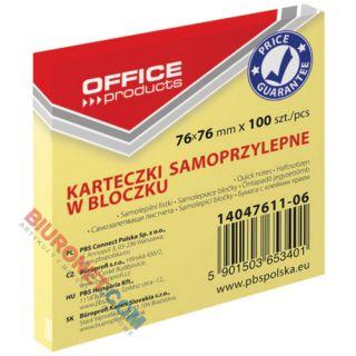 Karteczki samoprzylepne Office Products, bloczek 100 kartek, kolor żółty 76 x 76 mm