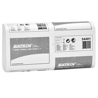 Katrin Plus One Stop L 3 344013 ręczniki papierowe składane typu Z, do dozowników, [3-warstwowe, białe, celulozowe]