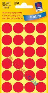 Kółka do zaznaczania Avery Zweckform, średnica 18mm, 96 sztuk czerwone