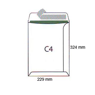 Koperty C4, samoprzylepne z paskiem HK, białe 25 sztuk
