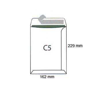 Koperty C5, samoprzylepne z paskiem HK, białe 50 sztuk