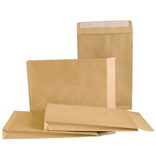 Koperty z rozszerzanymi bokami i dnem (RBD), z paskiem (HK), brązowe (BR), 250 sztuk