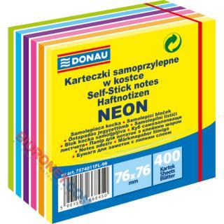 Kostka Donau, karteczki samoprzylepne 76x76 mm, 400 kartek neonowa