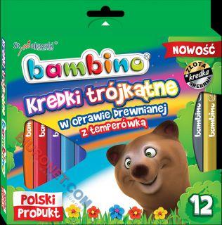 Kredki ołówkowe Bambino,trójkątne + temperówka