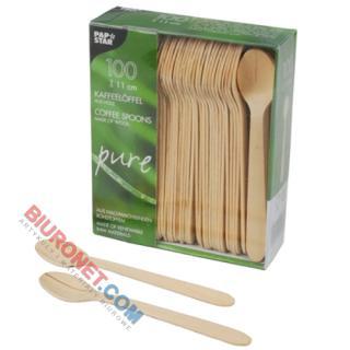 Łyżki drewniane PapStar Pure, opakowanie 100 sztuk