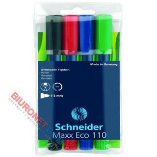 Markery suchościeralne Schneider Maxx Eco 110, 4 sztuki do tablic i flipchartów