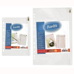 Obwoluta wpinana Zipper Bag Bantex, z PVC 140 mikronów, krystaliczne z suwakiem  OBWOLUTA A4 DONAU KRYST.170MIC MIX KOLOR 330X240