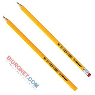 Ołówek drewniany Donau HB, lakierowany żółty bez gumki