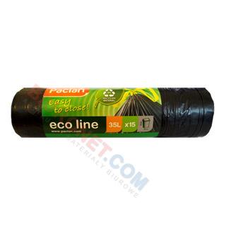 Paclan Eco Line, worki na odpady ściągane taśmą, czarne
