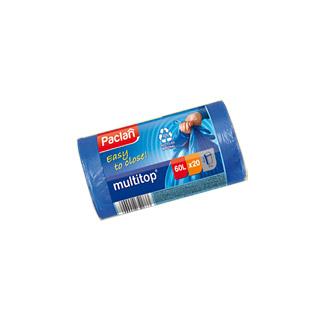 Paclan Multitop, zawiązywane worki na odpady, niebieskie