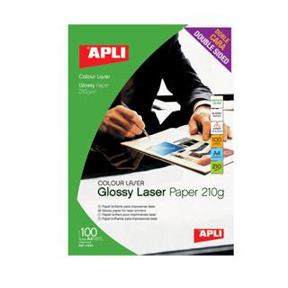 Papier fotograficzny błyszczący dwustronny do drukarek laserowych, A4. Apli