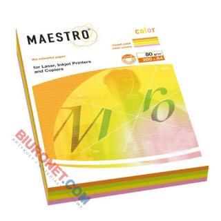 Papier Maestro Color A4/80g, miks kolorów, 200 arkuszy