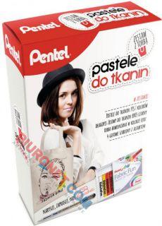 Pastele do tkanin Pentel PTS, zestaw z torbą i długopisem żelowym