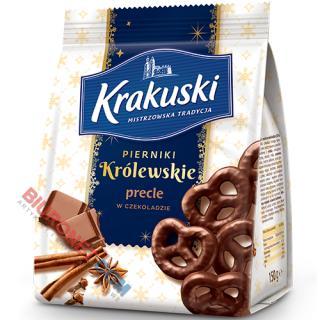 Pierniki Królewskie Krakuski, ciastka korzenne z nadzieniem, w czekoladzie, 150g