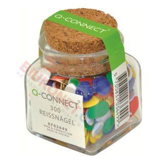 Pinezki tablicowe płaskie Q-Connect w słoiku, 300szt