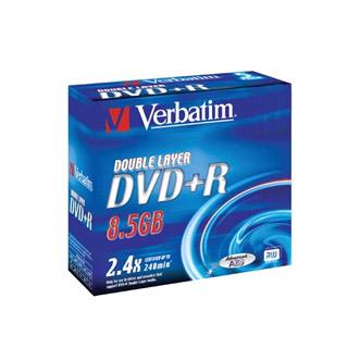 Płyty DVD+R Verbatim Dual Layer 8,5GB 2,4x, pudełko slim