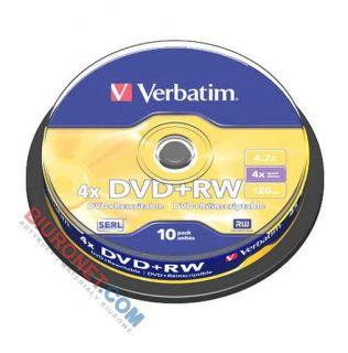 Płyty DVD+RW Verbatim, do wielokrotnego zapisu, 4.7 GB 4x, cake