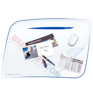 Podkładka na biurko Cep Ice Blue 65,6 x 44,8 cm, z dodatkową folią, transparentna niebieskie wykończenie