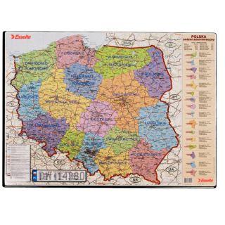 Podkładka na biurko Esselte, z mapą Polski 500 x 650 mm - Polska