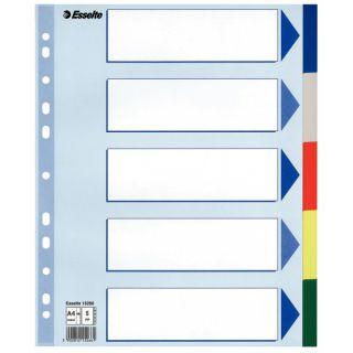 Przekładki A4 Maxi- plastikowe kolorowe. Esselte
