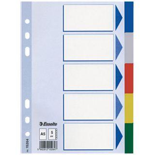 Przekładki A5 plastikowe kolorowe, 5 kolorów. Esselte