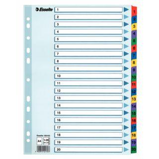Przekładki kartonowe Esselte Mylar, 5 kolorów, z indeksami i nadrukiem