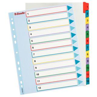 Przekładki kartonowe Esselte Mylar A4 Maxi, numeryczne, laminowane
