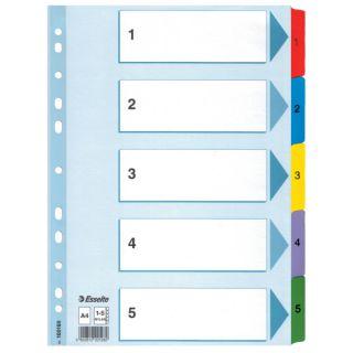 Przekładki kartonowe Esselte Mylar A4, numeryczne, 5 kolorów