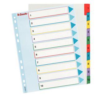Przekładki kartonowe Mylar Maxi z indeksami i laminowaną powierzchnią. Esselte