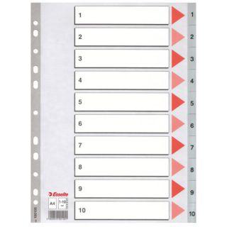 Przekładki plastikowe Esselte A4, kolor szary, numeryczne z indeksami