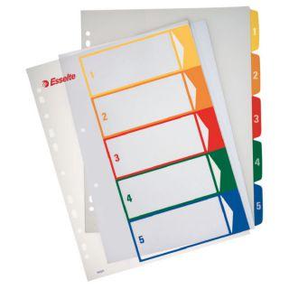 Przekładki plastikowe Esselte A4 Maxi, numeryczne, kolorowe indeksy, z możliwością nadruku