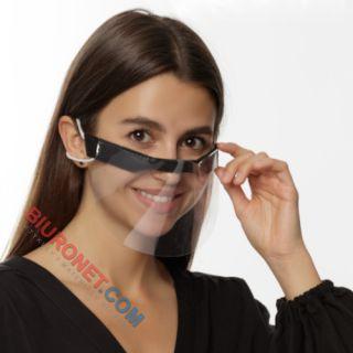 Przyłbica ochronna PET na nos i gumkę tekstylną, wielokrotnego użytku