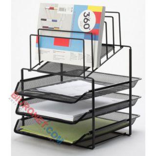 Q-Connect Office-Set, metalowy stojak z 3 półkami i sorterem, na dokumenty A4