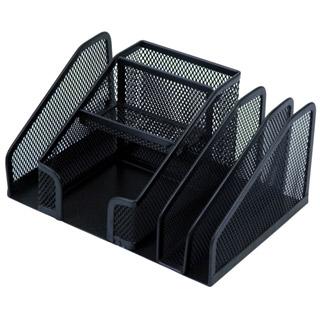 Q-Connect Office-Set, przybornik z 6 komorami i dyspenserem taśmy, metalowy piórnik