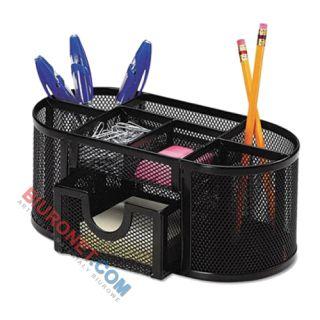 Q-Connect Office-Set, przybornik z 8 komorami i szufladą, metalowy piórnik
