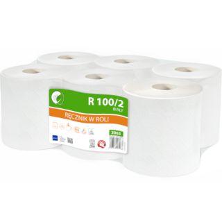 Ręcznik w rolce Lamix Ellis Ecolinel 3063, biały papier makulaturowy, 2-warstwowe, do dozowników 6 rolek x 100 m