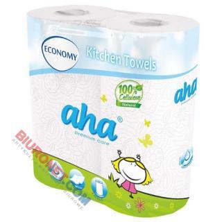 Ręczniki papierowe AHA Premium Care Economy, kuchenne, biały papier celulozowy, 2-warstwowy 2 rolki x 50 listków