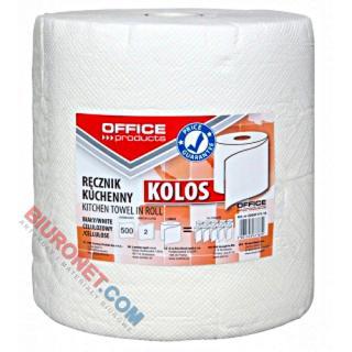 Ręczniki papierowe Office Products Kolos, kuchenne, biały papier celulozowy, 2-warstwowy 1 rolka x 500 listków