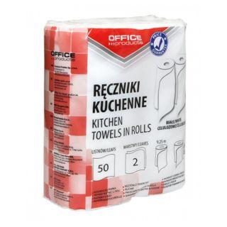 Ręczniki papierowe Office Products, kuchenne, biały papier celulozowy, 2-warstwowy 2 rolki x 50 listków