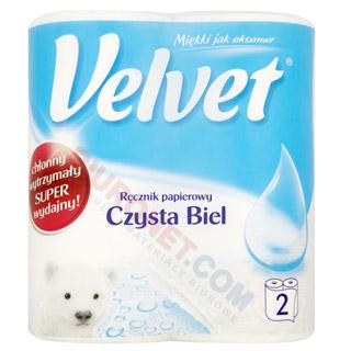 Ręczniki papierowe Velvet Czysta Biel, kuchenne, biały papier celulozowy, 2-warstwowy 2 rolki x 54 listki
