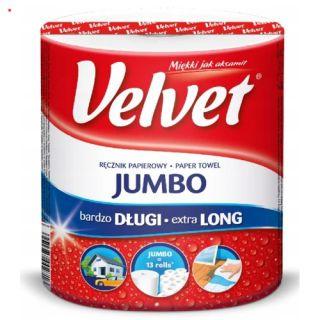 Ręczniki papierowe Velvet Jumbo, kuchenne, biały papier celulozowy, 2-warstwowy 1 rolka x 520 listków