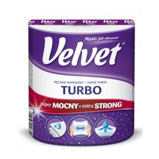 Ręczniki papierowe Velvet Turbo, kuchenne, biały papier celulozowy, 3-warstwowy 1 rolka x 330 listków