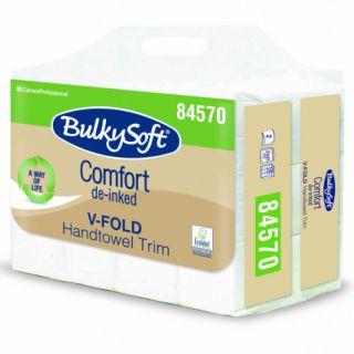 Ręczniki składane BulkySoft Comfort De-inked typu V 84570, biały papier celulozowy, 2-warstwowe, do dozowników 12 x 250 listków