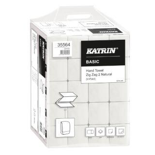 Ręczniki składane Katrin Basic Zig Zag 2 35564 typu V, naturalny papier makulaturowy, 2-warstwowe, do dozowników 20 x 200 listków