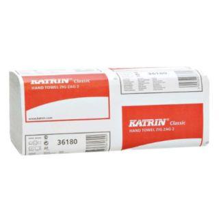 Ręczniki składane Katrin Classic Zig Zag 2 65944 typu ZZ, biały papier celulozowy, 2-warstwowe, do dozowników 20 x 150 listków