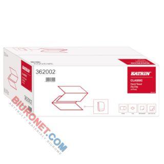Ręczniki składane Katrin Classic Zig Zag 362002 typu V, biały papier makulaturowy, 1-warstwowe, do dozowników 20 x 200 listków
