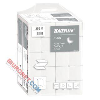 Ręczniki składane Katrin Plus Zig Zag 2 Handy Pack 35311 typu ZZ, biały papier celulozowy, 2-warstwowe, do dozowników 20 x 200 listków