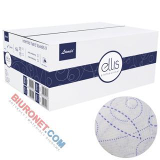 Ręczniki składane Lamix Ellis Professiona typu V, biały papier celulozowy, 2-warstwowe, wytłaczany fioletowy wzór, do dozowników 20 x 150 listków