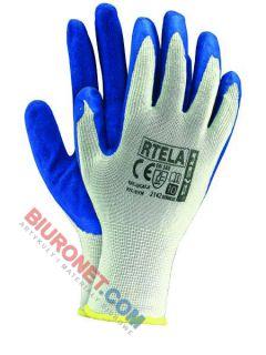 Rękawice robocze, ochronne, RTELA, biało - niebieskie